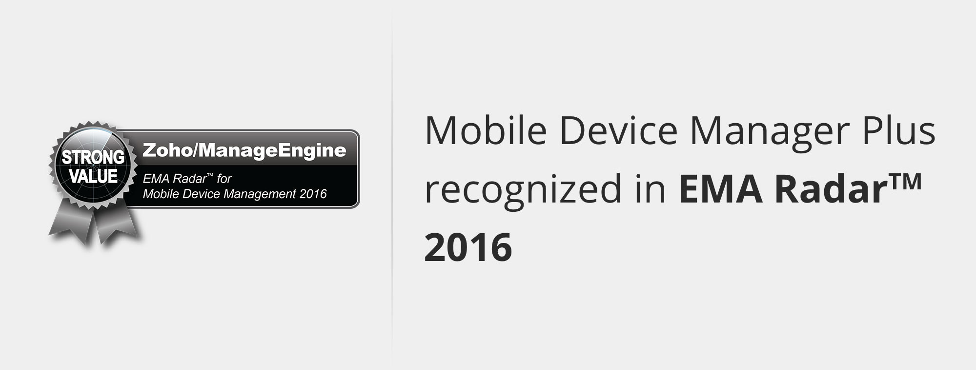 Mobile Device Manager Plus recognized in EMA Radar 2016